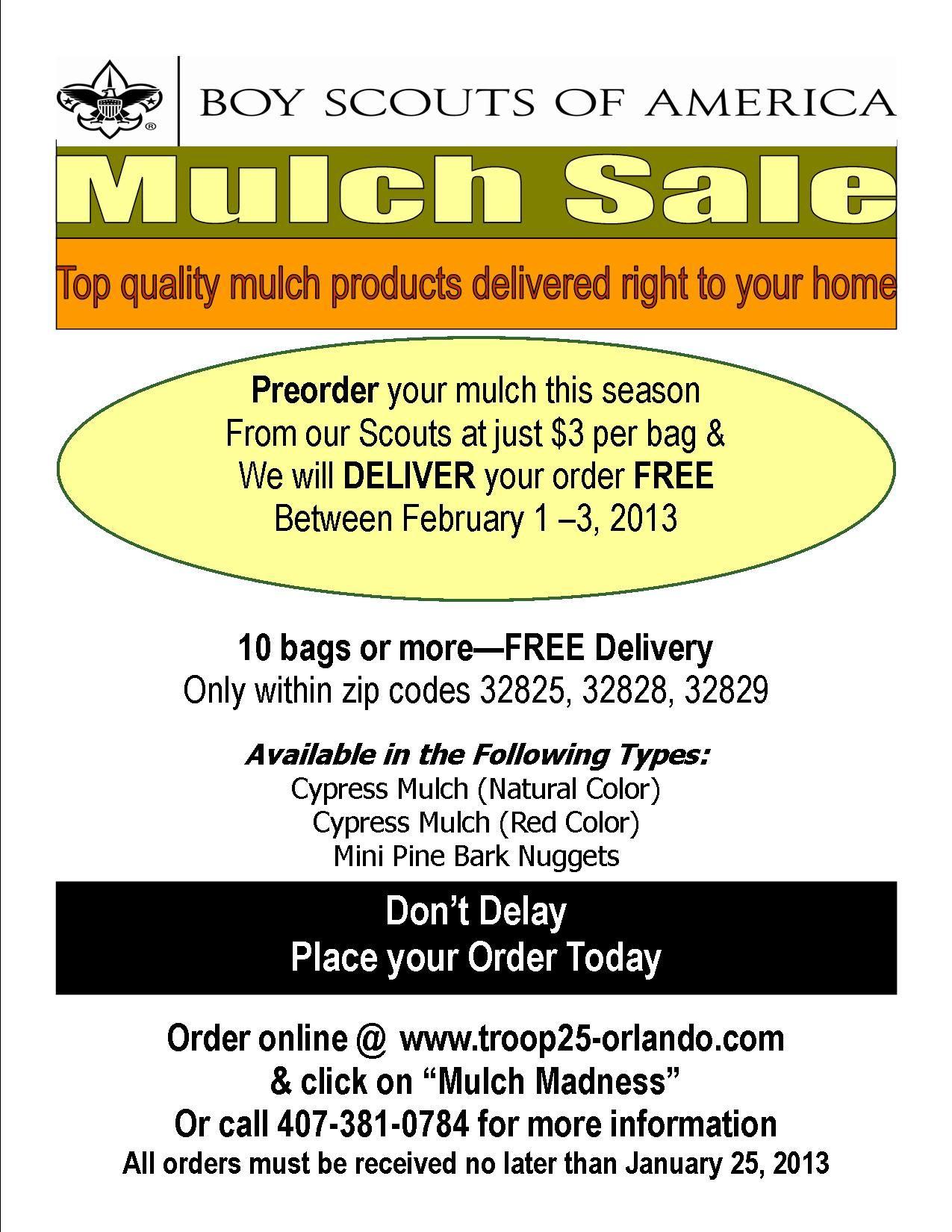 Boy Scouts of America Mulch Sale 3 per bag & deliver for