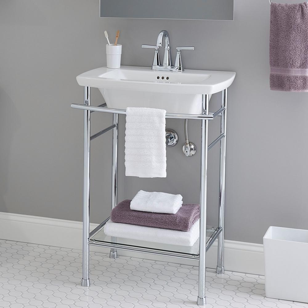 American Standard Edgemere 4 In Pedestal Sink Basin In White 0445004 020 Bathroom Sink Small Bathroom Wall Mounted Bathroom Sinks