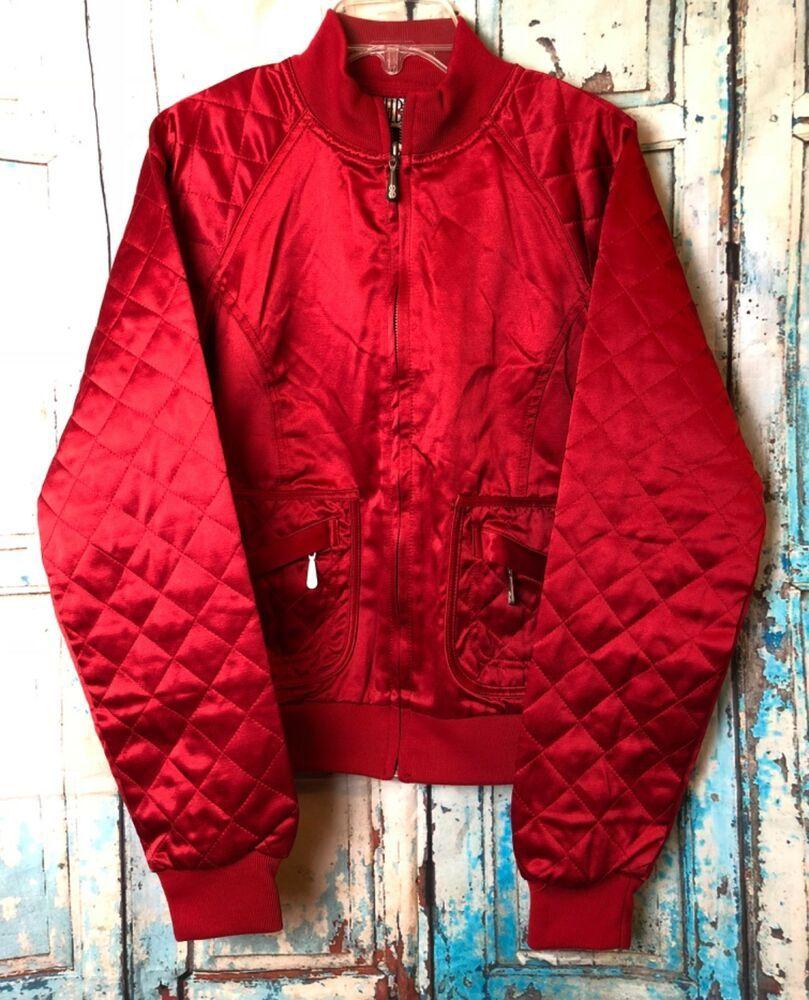 Womens Bill Blass Jeans Red Quilted Zippered Jacket Size Medium Billblass Bomber Vintage Clothes Women Bill Blass Jeans Winter Outfits Women [ 1000 x 809 Pixel ]