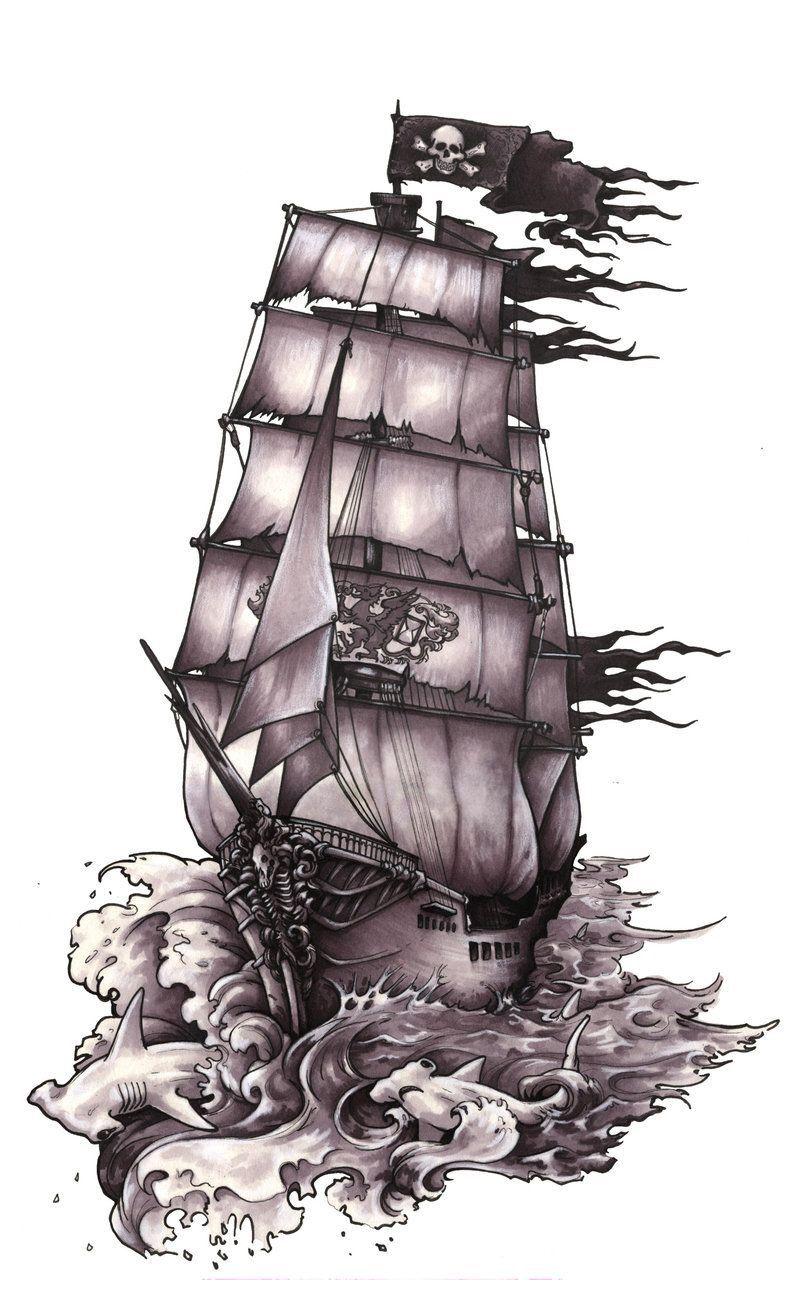 Pin Oleh Charlie Rocha Di Tattoos Kapal Bajak Laut Ide Tato Seni Lukis