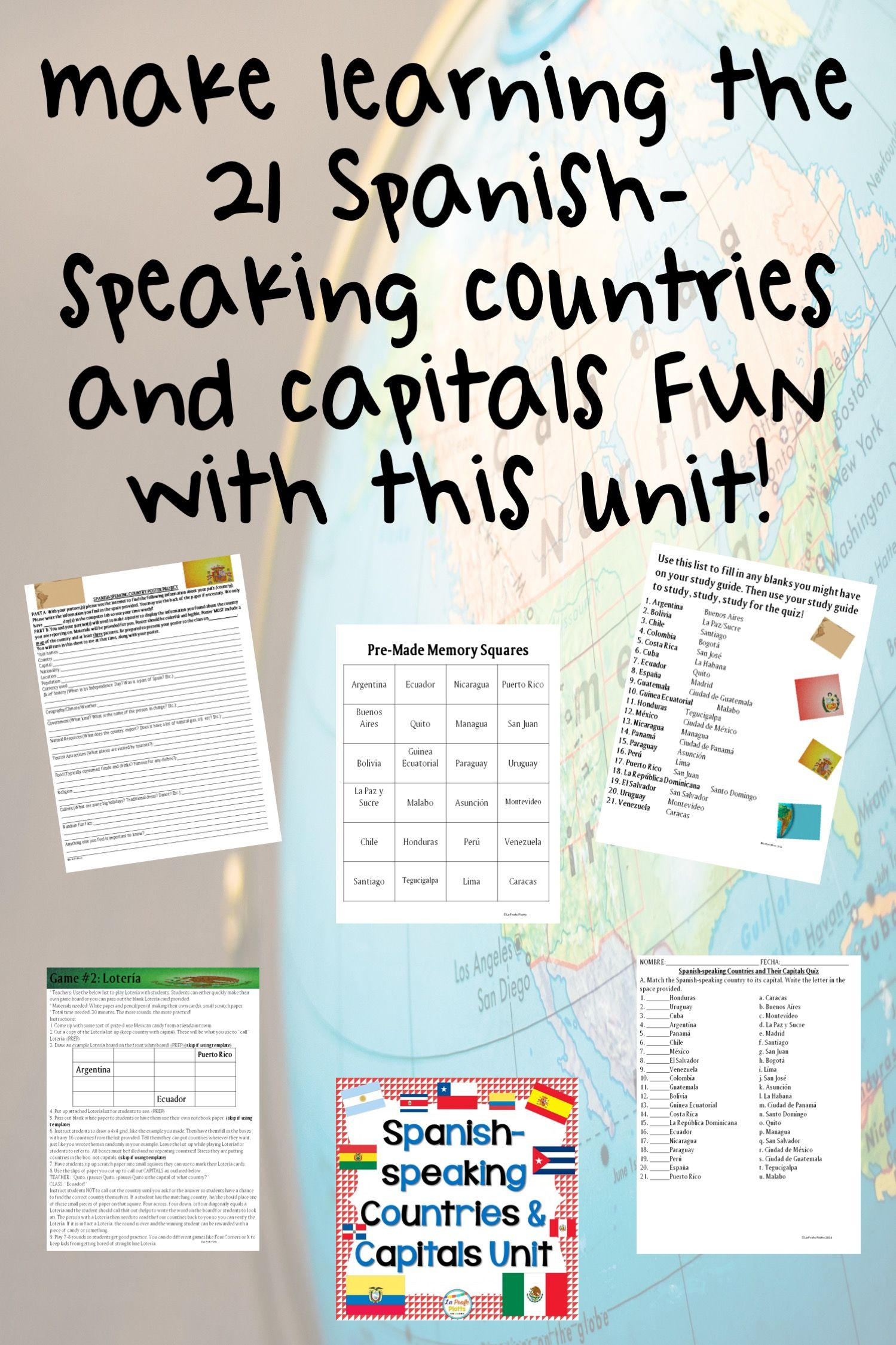 Spanish Speaking Countries And Capitals Project Fun
