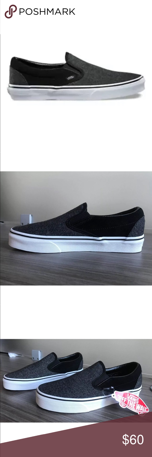1aa637f0da Vans Men s Classic Slip-On Suede and Suiting NEW AUTHENTIC Vans Classic  Slip On Shoes
