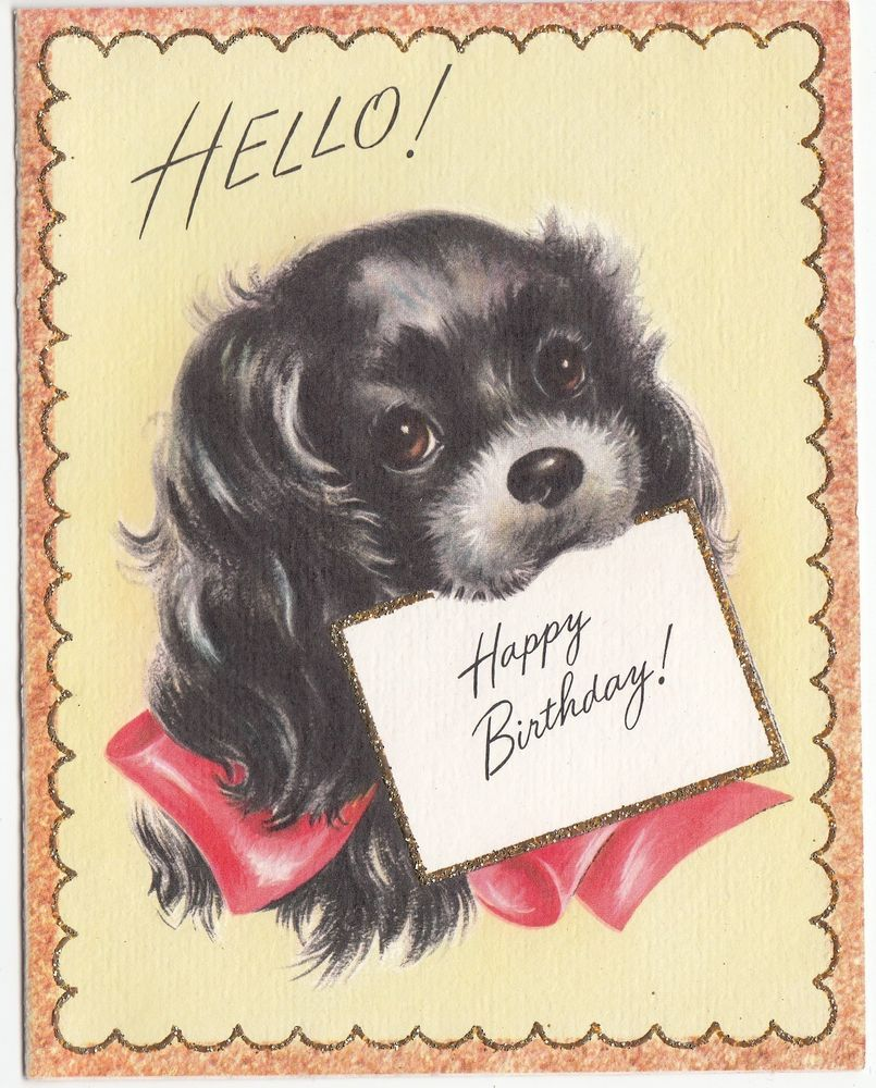 Vintage glittered lined black dog birthday greeting card vintage vintage glittered lined black dog birthday greeting card kristyandbryce Choice Image