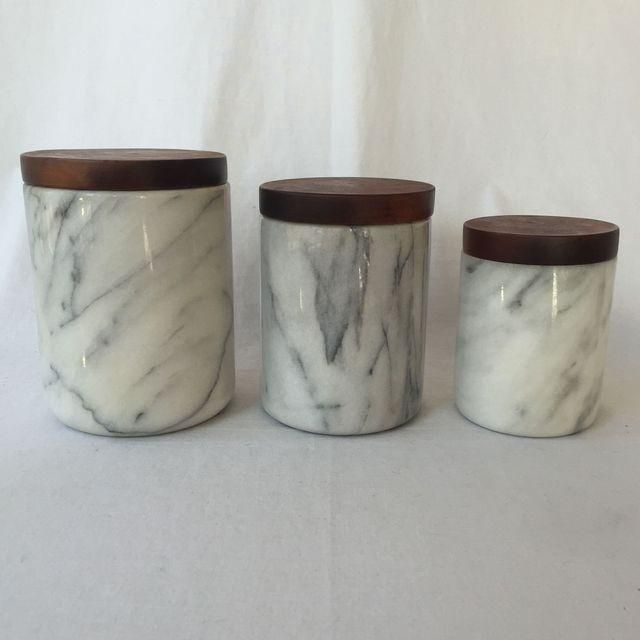 Image Of Marble Kitchen Canisters   Set Of 3