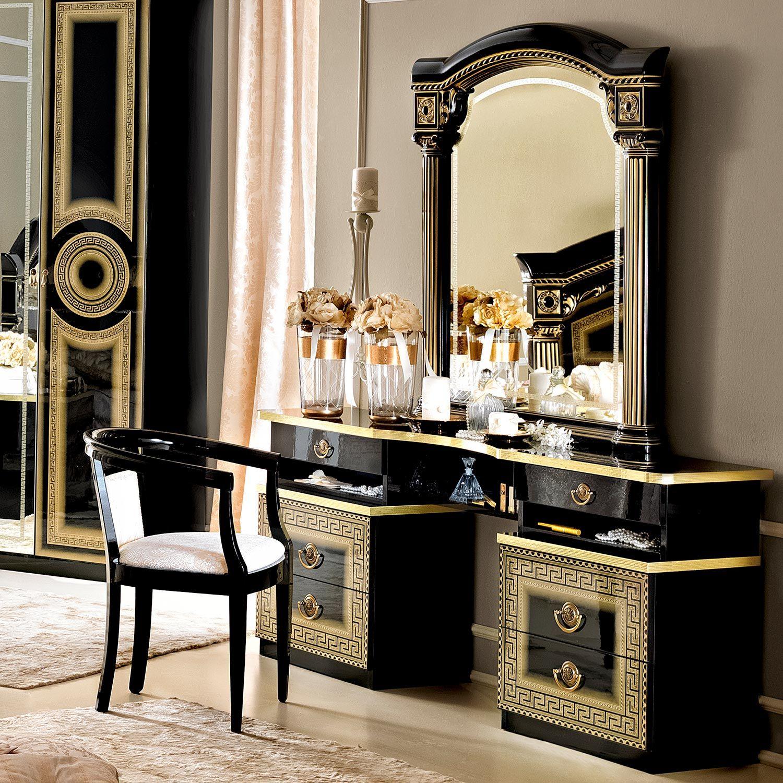 Versace Inspired Black High Gloss U0026 Gold Dressing Table Mirror U0026 Chair .