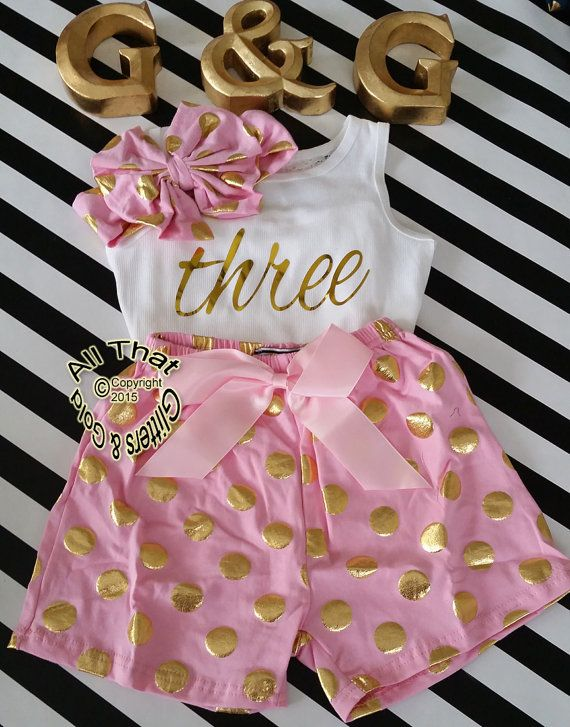 cff9a4d6b370 New Pink and Gold 3rd Birthday Outfit Cute by GlittersandGoldShop  Aniversário De Terra Dos Doces