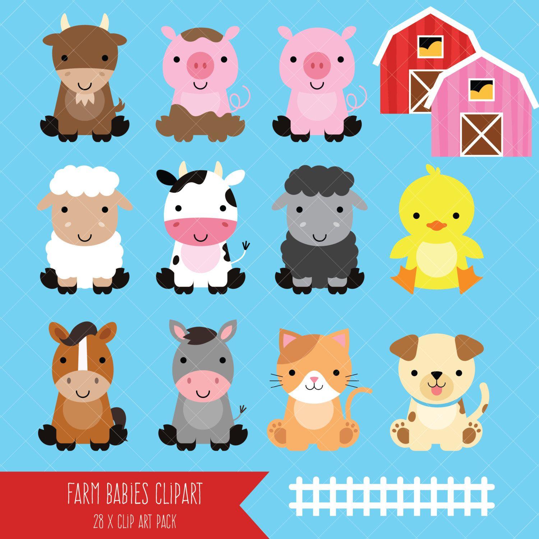 Farm Baby Animals Clipart / Cute Animal Clipart / Barnyard