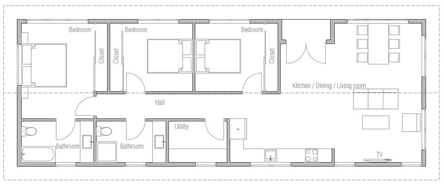 House Design House Plan Ch442 Good Plan Plumbing All Along One Wall My House Plans House Plans Bungalow House Design