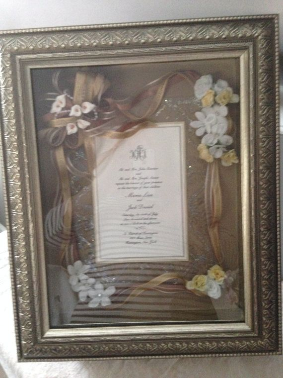 Wedding Invitation Keepsake Frame Hand Made Decorated With Flowers