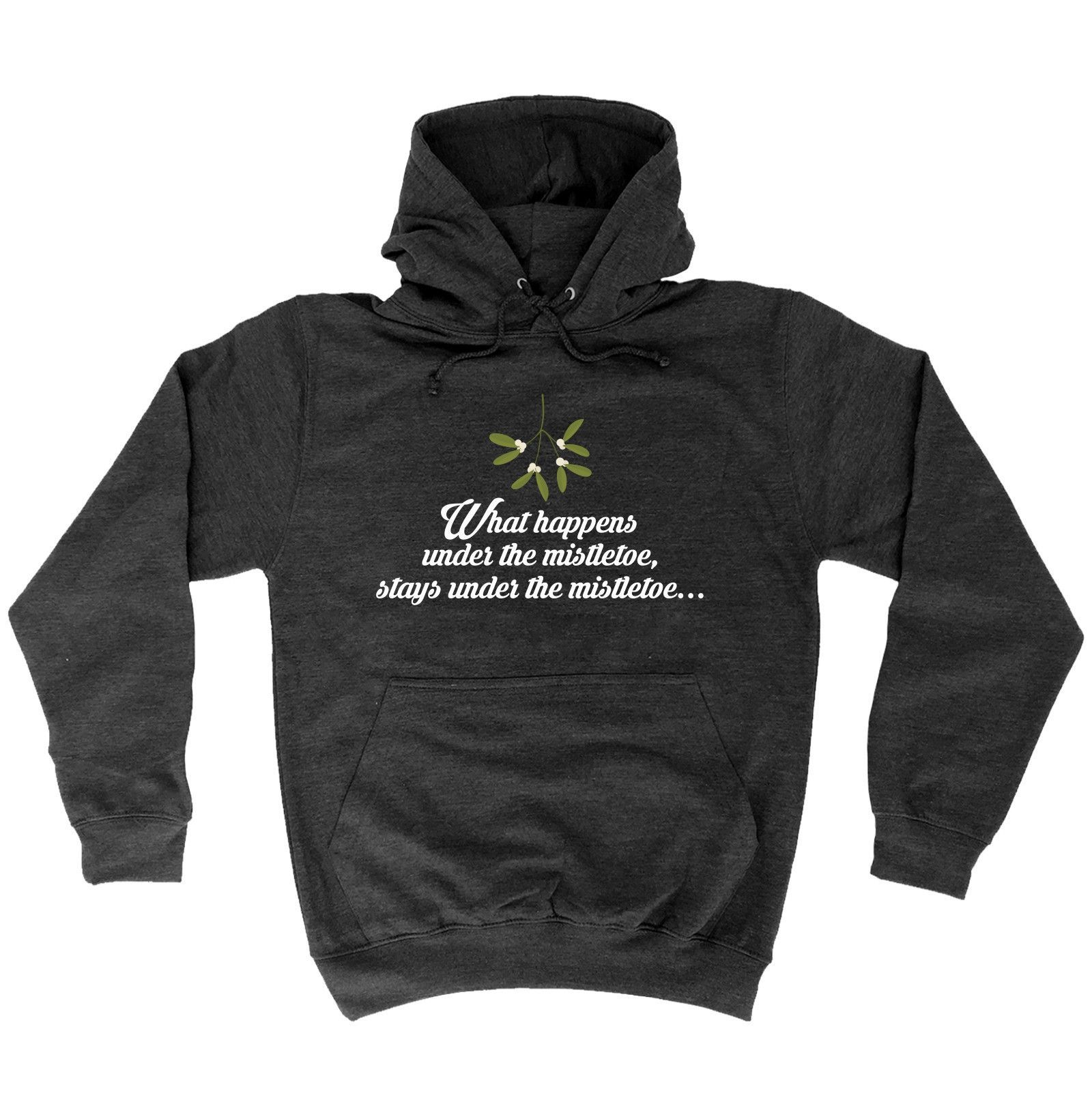 123t USA What Happens Under The Mistletoe Funny Hoodie