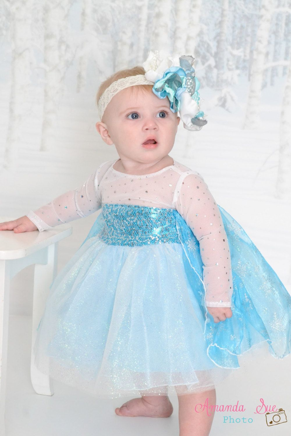 Baby Elsa Infant Frozen Tutu Dress With Snowflake Cape Belle Mom N Bab Long Pants Blue Polkadot Size 4t Costume Sparkle By Sosohippo On Etsy
