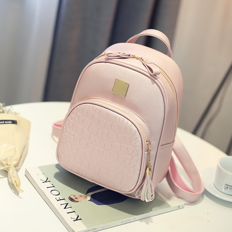 14.44$  Watch now - http://alihn0.shopchina.info/1/go.php?t=32815425227 - 2017 Fashion Women Backpacks PU Leather Shoulder Bag Crocodile Pattern Small Backpack Embossed School Bags for Girl  #SHOPPING