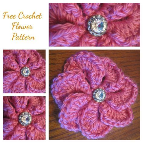 Large Crochet Flower Appliqu Button Flowers Free Pattern And