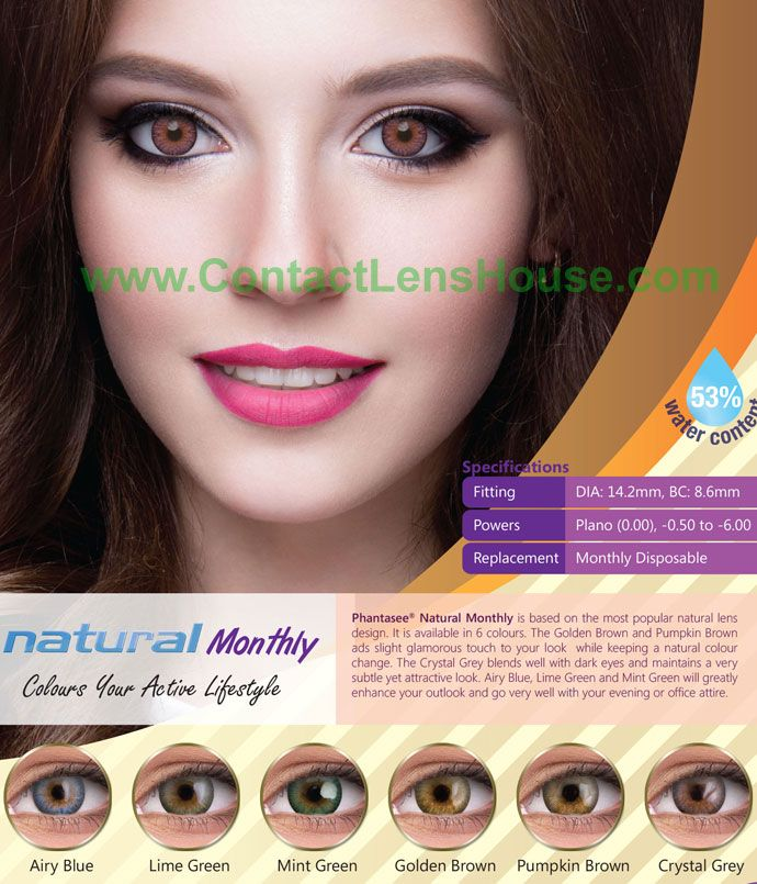 Phantasee Natural Monthly Crystal Grey Contact Lenses For Brown Eyes Colored Contacts Natural Contact Lenses