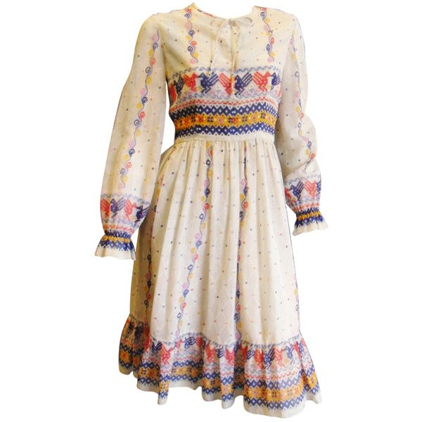 Oscar De la Renta Peasant dress Circa 1970 ❤ liked on Polyvore featuring dresses, vintage pink dress, pink dress, oscar de la renta dresses, oscar de la renta and vintage dresses