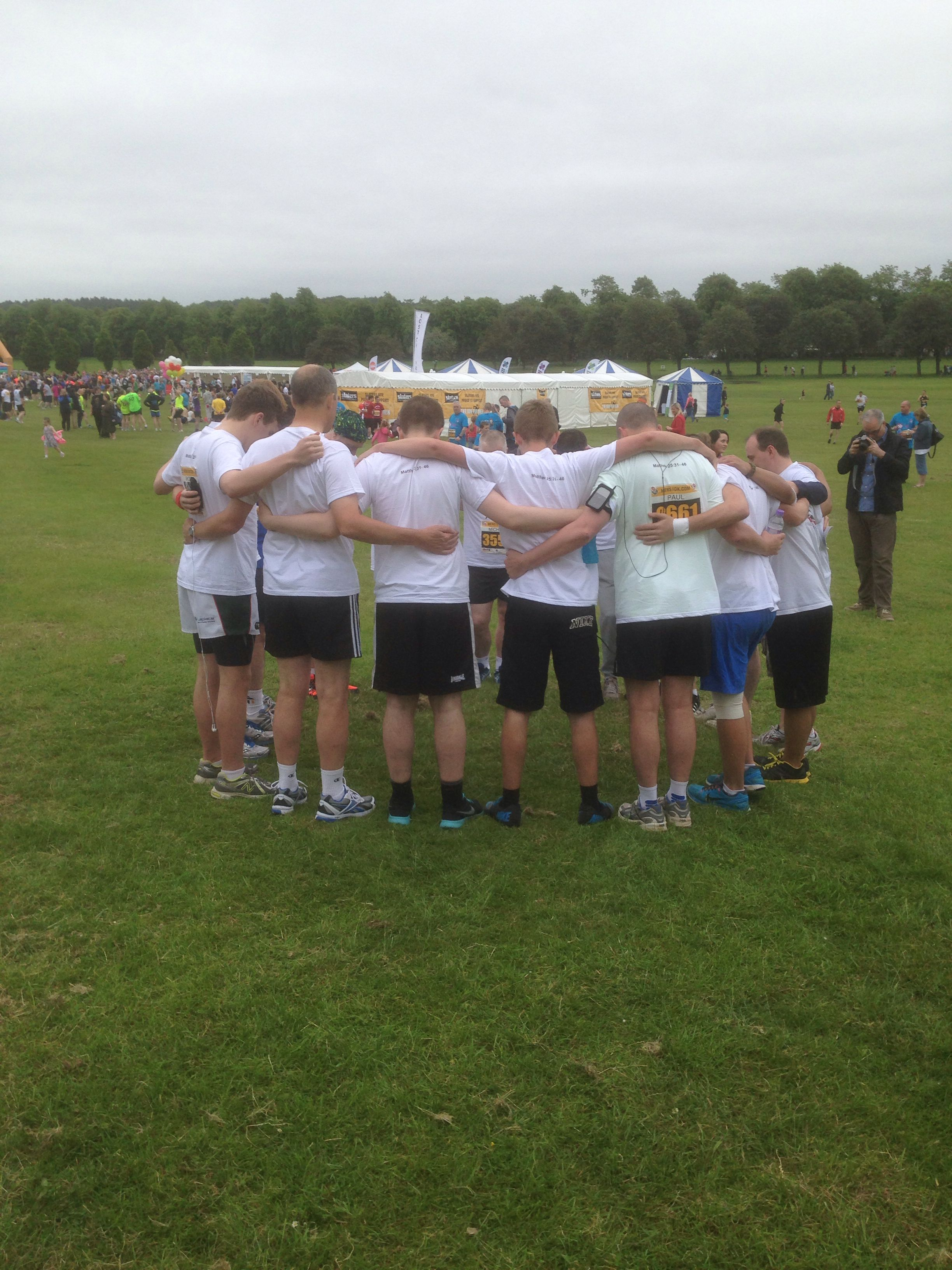 Team Ally - last minute thoughts & a wee prayer before the 10K