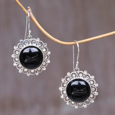 56099e1de Onyx dangle earrings, 'Halo' - Floral Sterling Silver Onyx Dangle Earrings