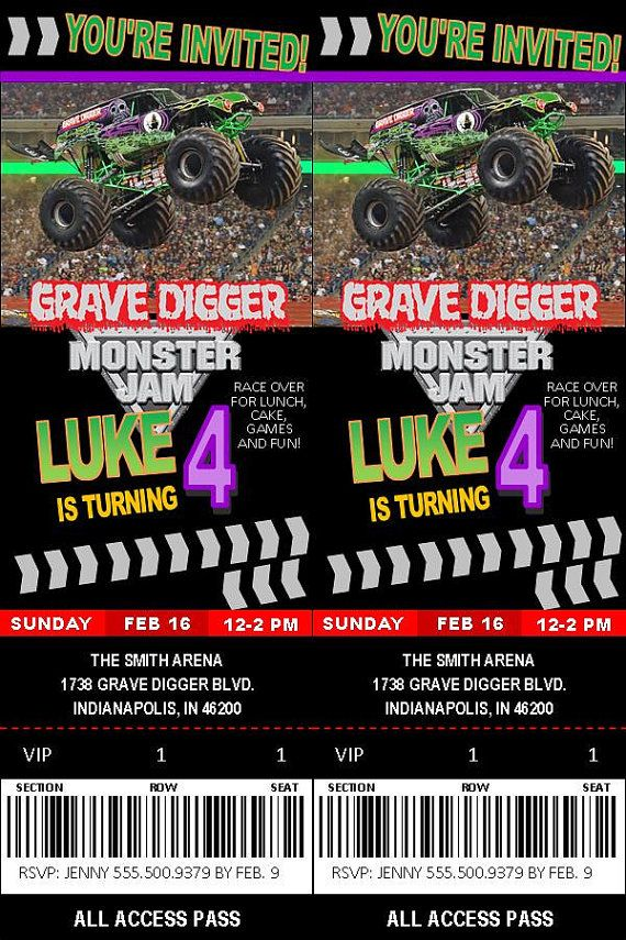 Grave Digger Monster Jam Birthday Invitation By OrijenalDesigns