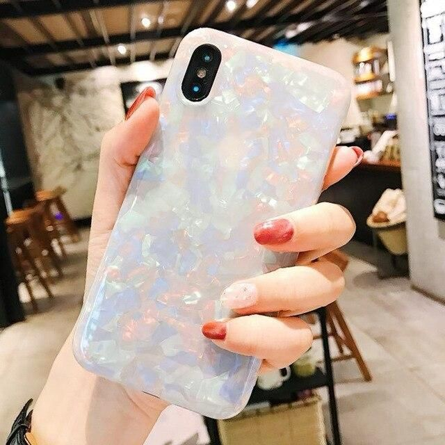 Luxury Conch Soft Silicone Case for iPhone 6 6S 7 8 Plus X XR XS Max Back Cover for Samsung Galaxy S7 Edge S8 S9 Plus Cases