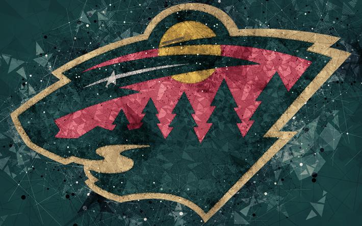 Download Wallpapers Minnesota Wild 4k American Hockey Club Creative Art Logo Creative Geometric Art Emblem Nhl Green Abstract Background St Paul Minne