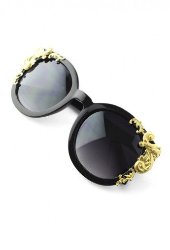35fdae351d5 Cat Eye Sunglasses with Golden Vine Detail