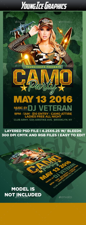 Camo Party Flyer Template