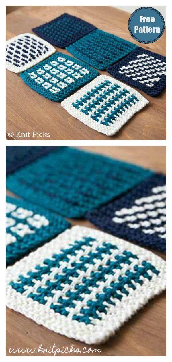 Square Coasters Free Knitting Pattern #slipstitch