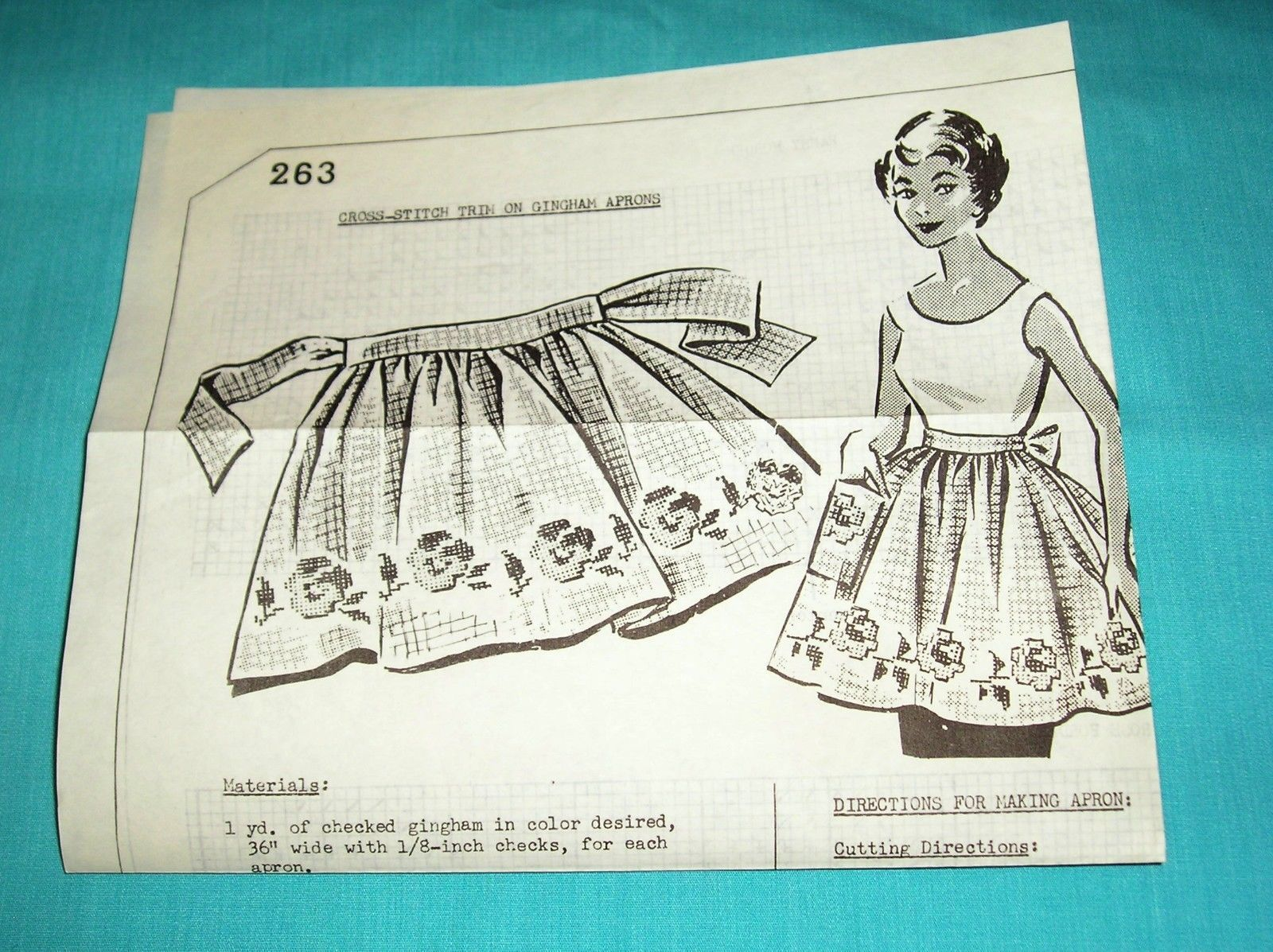 1950s Vintage Mail Order Cross Stitch Gingham Apron Pattern 263 ...