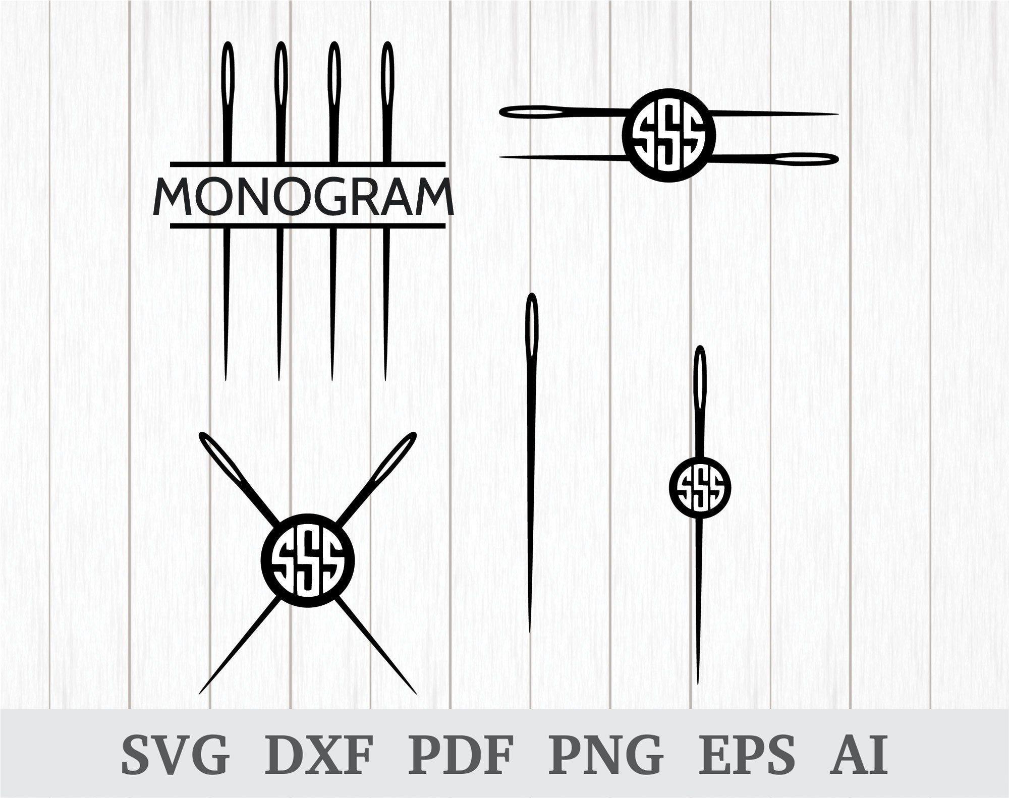 Sewing Needle svg, Needle SVG, Sewing Needle Monogram SVG