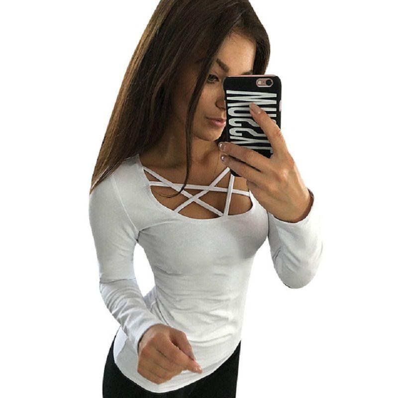 여성 후드 긴 소매 중공 아웃 붕대 스웨터 슬림 섹시 탑 티 팜므 Blusas 플러스 사이즈 LJ4515M