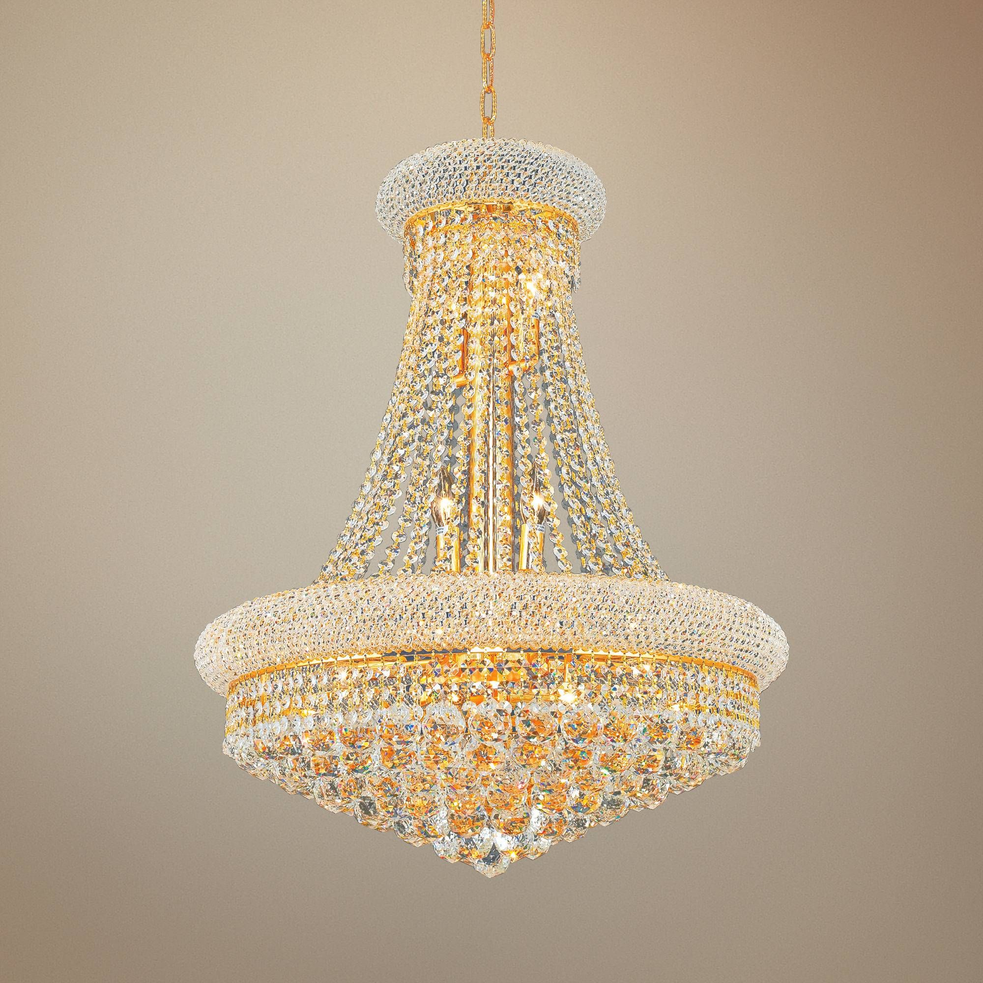 Chandelier with crystal faceted pendants, purple organza shades