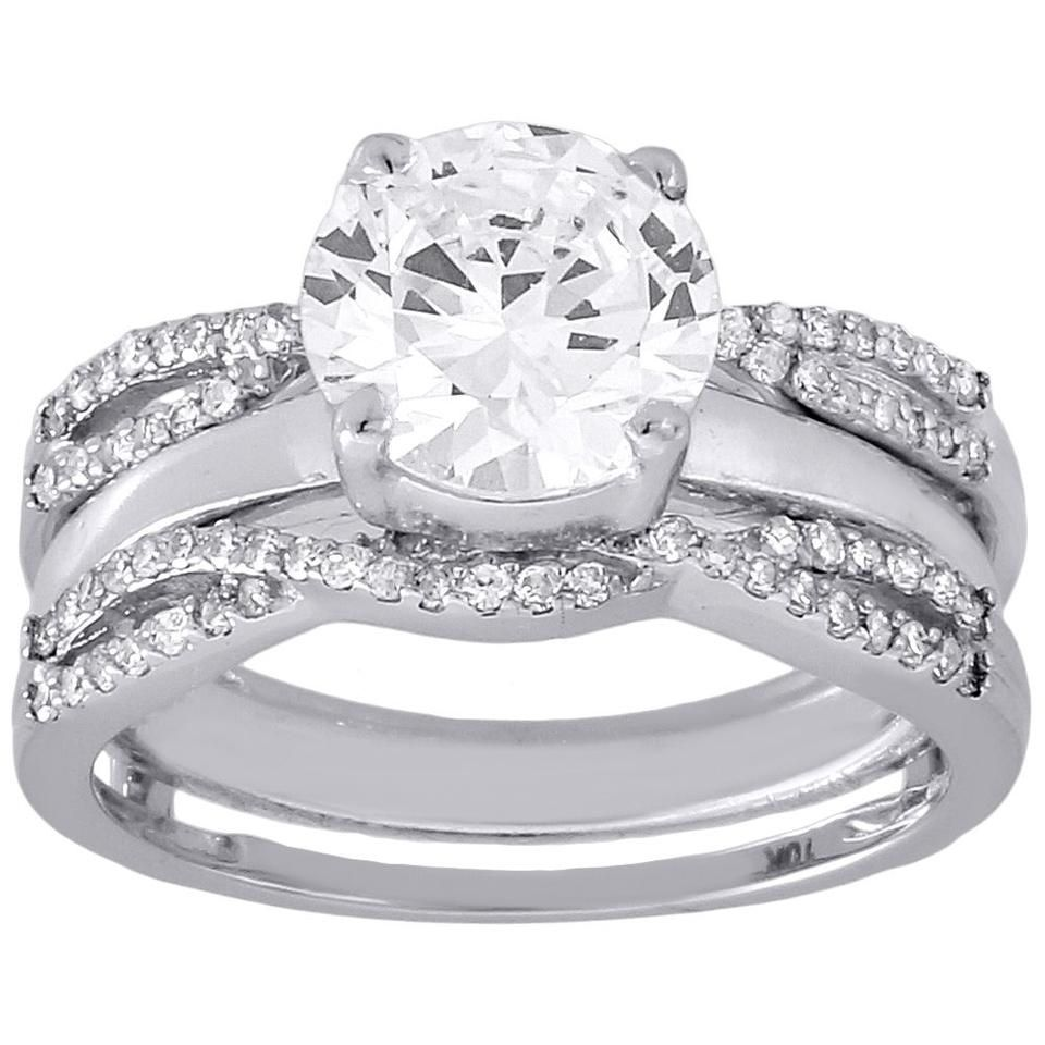 25 Ctw Baguette Round Diamond Ring Wrap Guard Enhancer Insert 14k Solitaire Wedding Ring Set Solitaire Engagement Ring Wedding Rings Solitaire