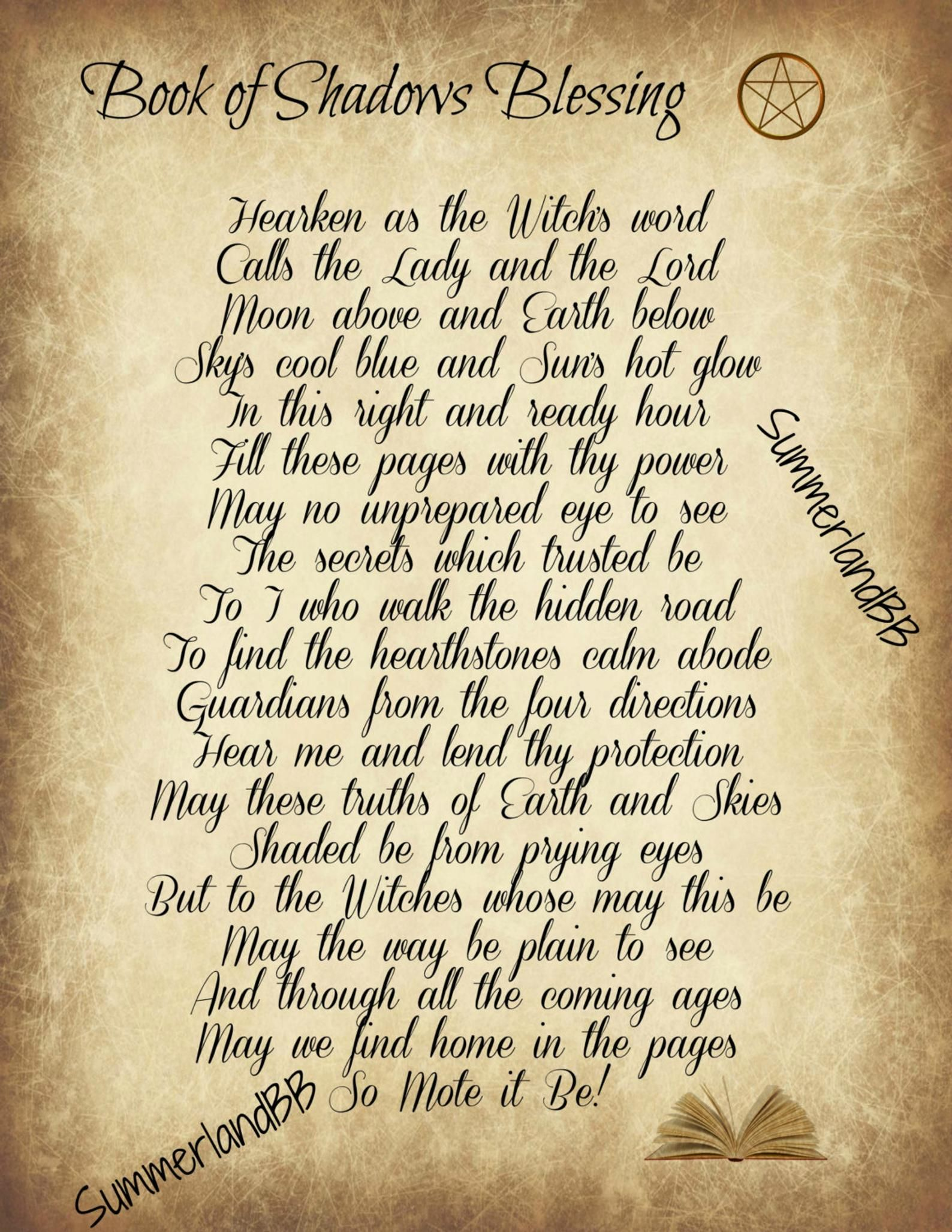 Book Of Shadows Blessing Spell Digital Download Book Of Etsy In 2020 Witchcraft Spell Books Book Of Shadows Wiccan Spell Book