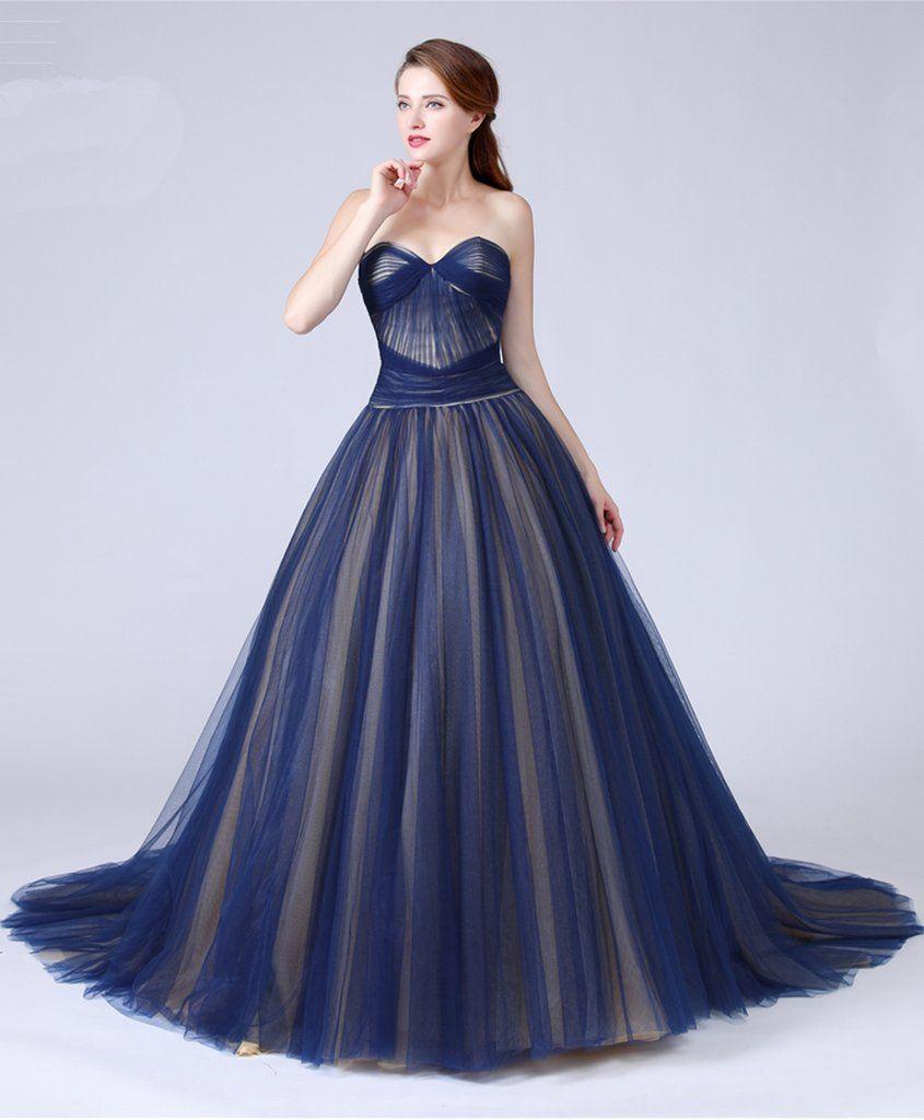 Sweetheart navy blue tulle long train aline eveining dress long