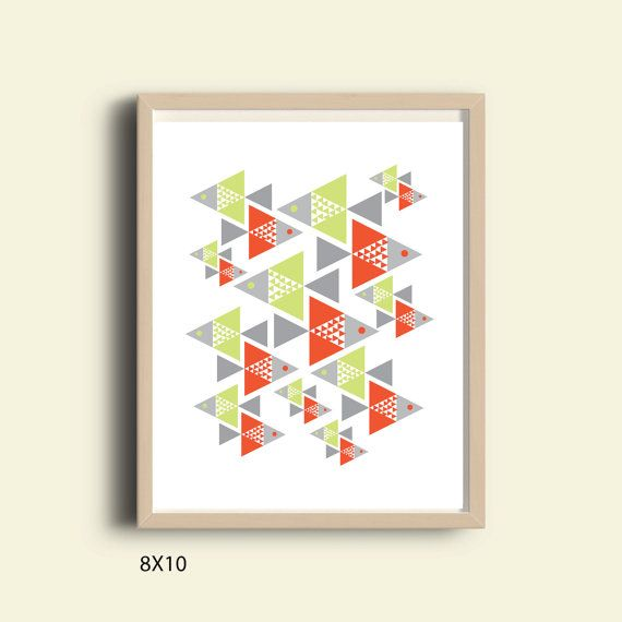 Geometric Print Kids Room Geometric Pattern Mid Century Art