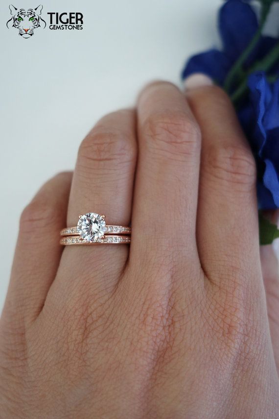 1 Carat Solitaire 1 25 Ctw Accented Wedding Set Bridal Rings Man Made Diamond Simulants E Silver Engagement Rings Gold Wedding Band Wedding Rings Solitaire