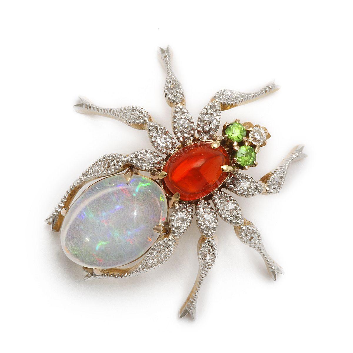Agua y ópalo ópalo de fuego mexicano pin araña con patas de diamantes y los ojos Demantoide granate, montado en oro y platino.