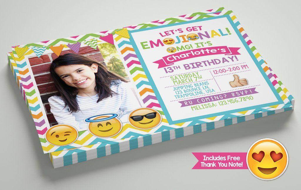 Omg emoji smiley birthday invitation with free thank you note omg emoji smiley birthday invitation with free thank you note stopboris Image collections