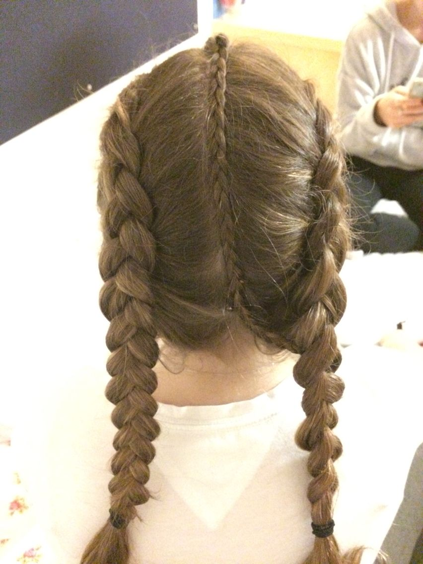 Did This To A Friend Simple Dutch Braids With A Micro Braid In The Center Parting To Achieve This Look Cool Braid Hairstyles Hair Styles Braided Hairstyles