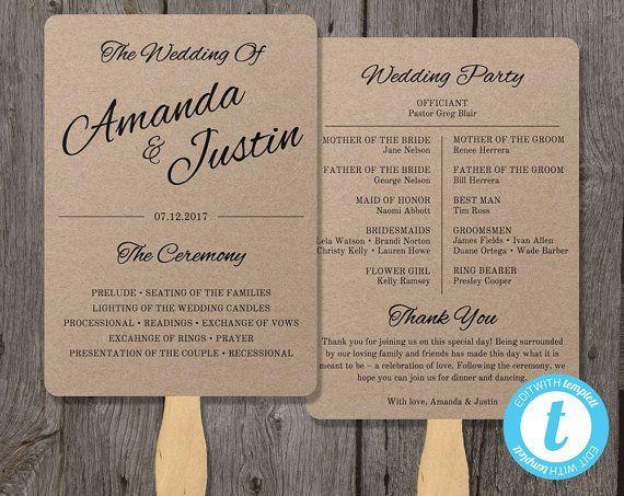 Wedding Program Fan Template Printable Rustic Wedding Fan Editable By You In Word Calligraphy Style Wedding Program Fans Wedding Programs Wedding Fans