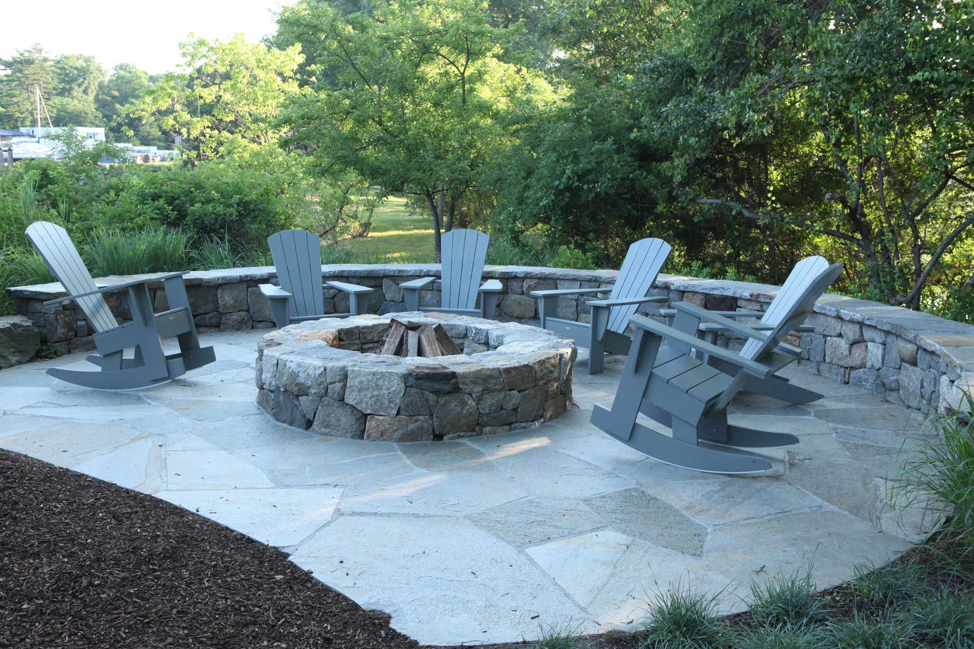 Stone Fire Pit Designs Part - 29: Relaxing Outdoor Living Using Stylish Fire Pits Design: Backyard Landscape  Ideas With Stone Pavers And Firepits Also Adirondack Shairs