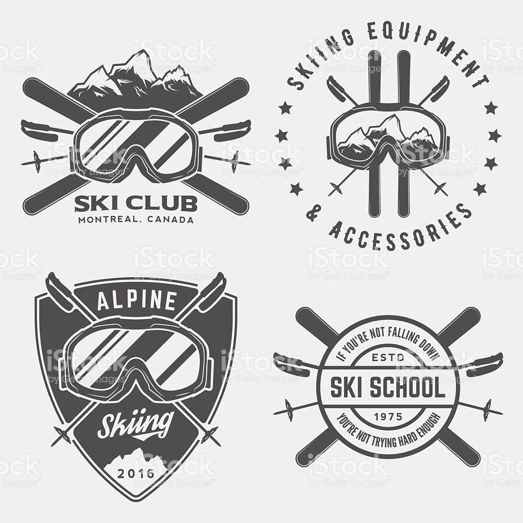 Vektor Set Ski Logos Embleme Und Design Elemente Logo Ski Designelemente Embleme Logo Ski Skilogos Und Vekto In 2020 Klamotten Shop Skifahren Grafik
