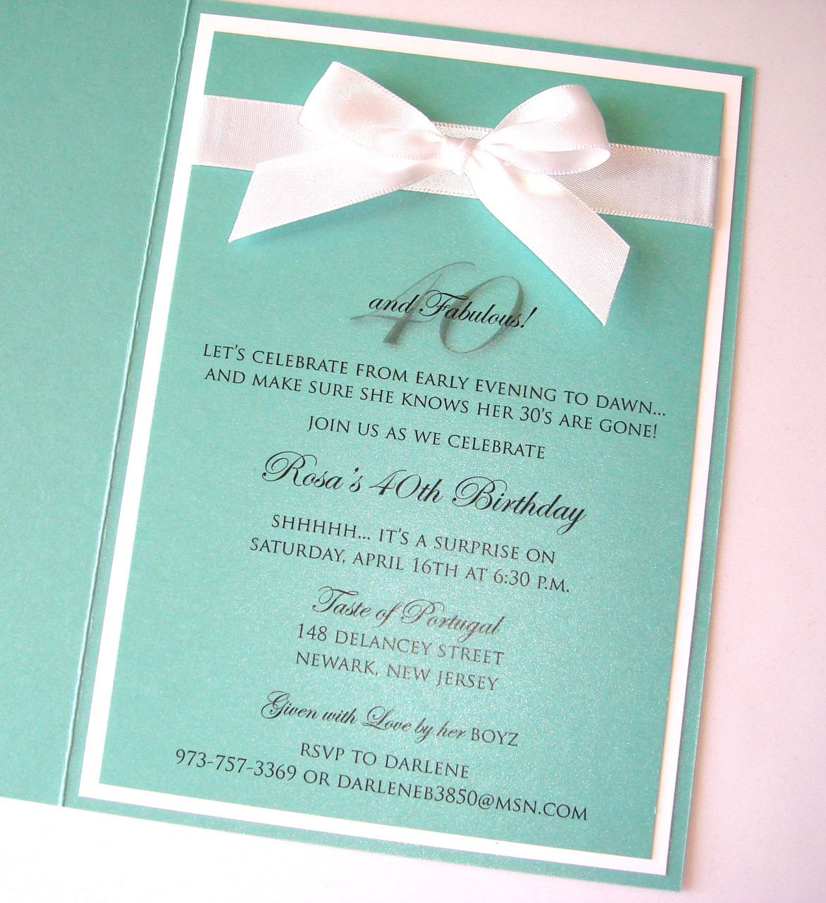 Embellished Paperie Custom Tiffany Style 40th Birthday Invitation – Tiffany Blue Birthday Invitations