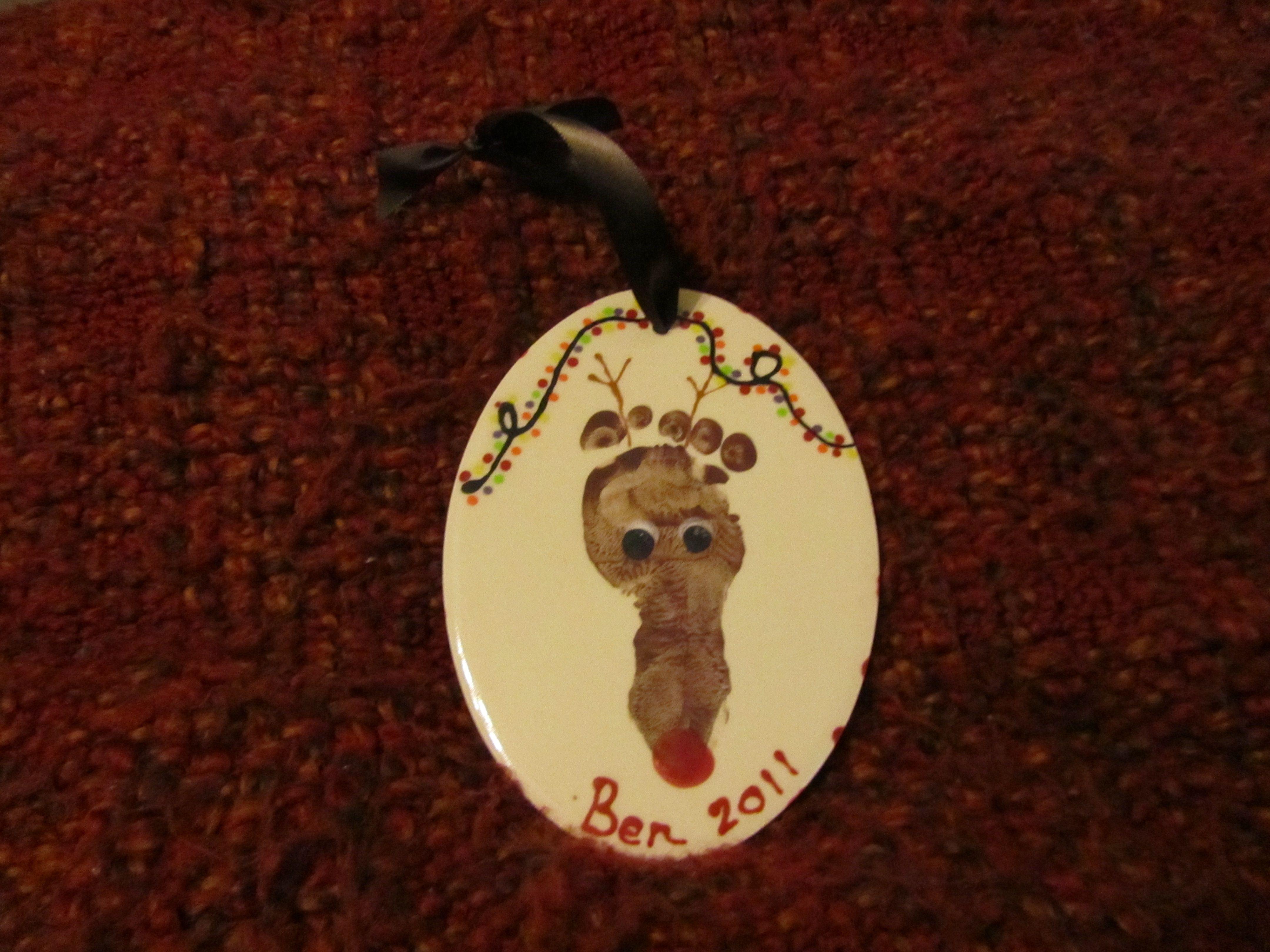 Baby Foot Reindeer Ornament