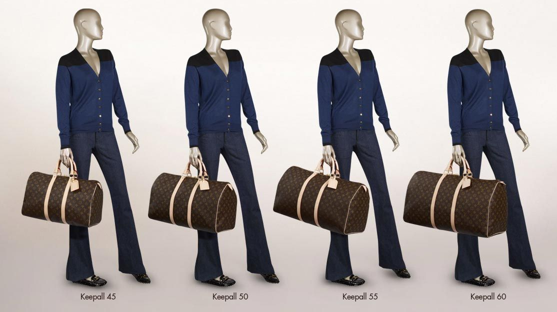 Louis Vuitton KeepAll bags sizes  c02eb28e4cb99