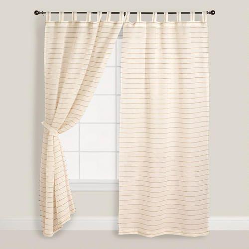 Ivory Striped Sahaj Jute Curtains Set Of 2 Cheap Curtains