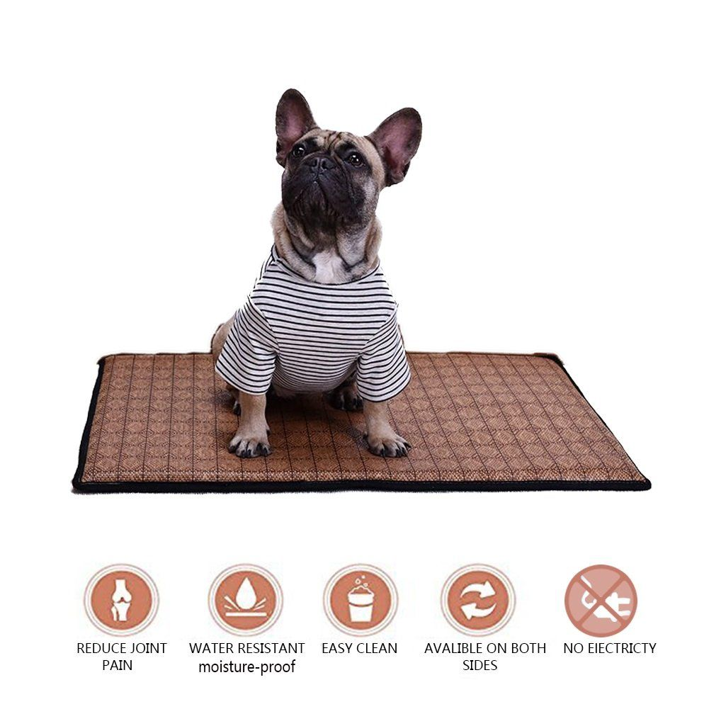 Bonaweite Pet Cooling Mat Breathable Bamboo Pad Puppy Kitten Summer Chilly Ice Cooler Bed Portable Pets Tents An Pet Mattress Pet Cooling Mat Dog Bed Furniture