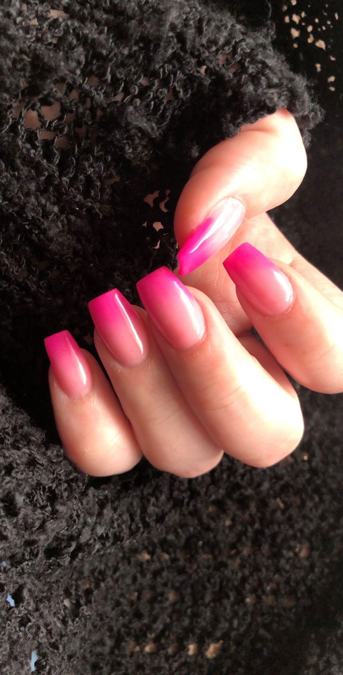 Ombre Acrylic Nails Pink Acrylic Nails Ombre Acrylic Nails Nail Designs Hot Pink