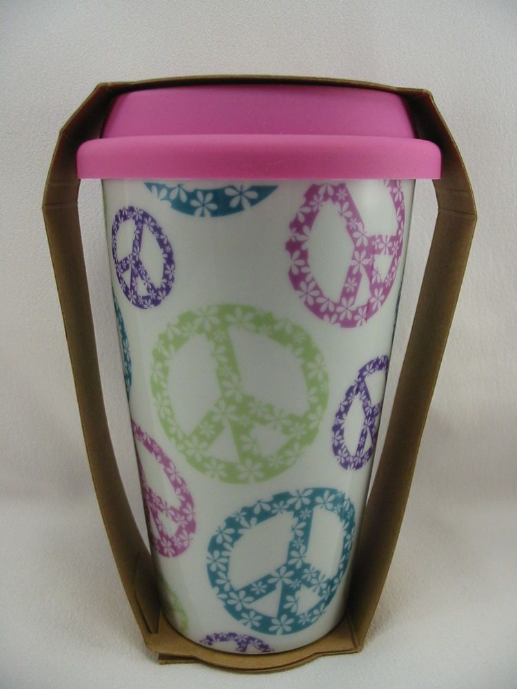 Ceramic Travel Coffee Mug Cup Silicone Pink Lid 10 oz Groovy Peace