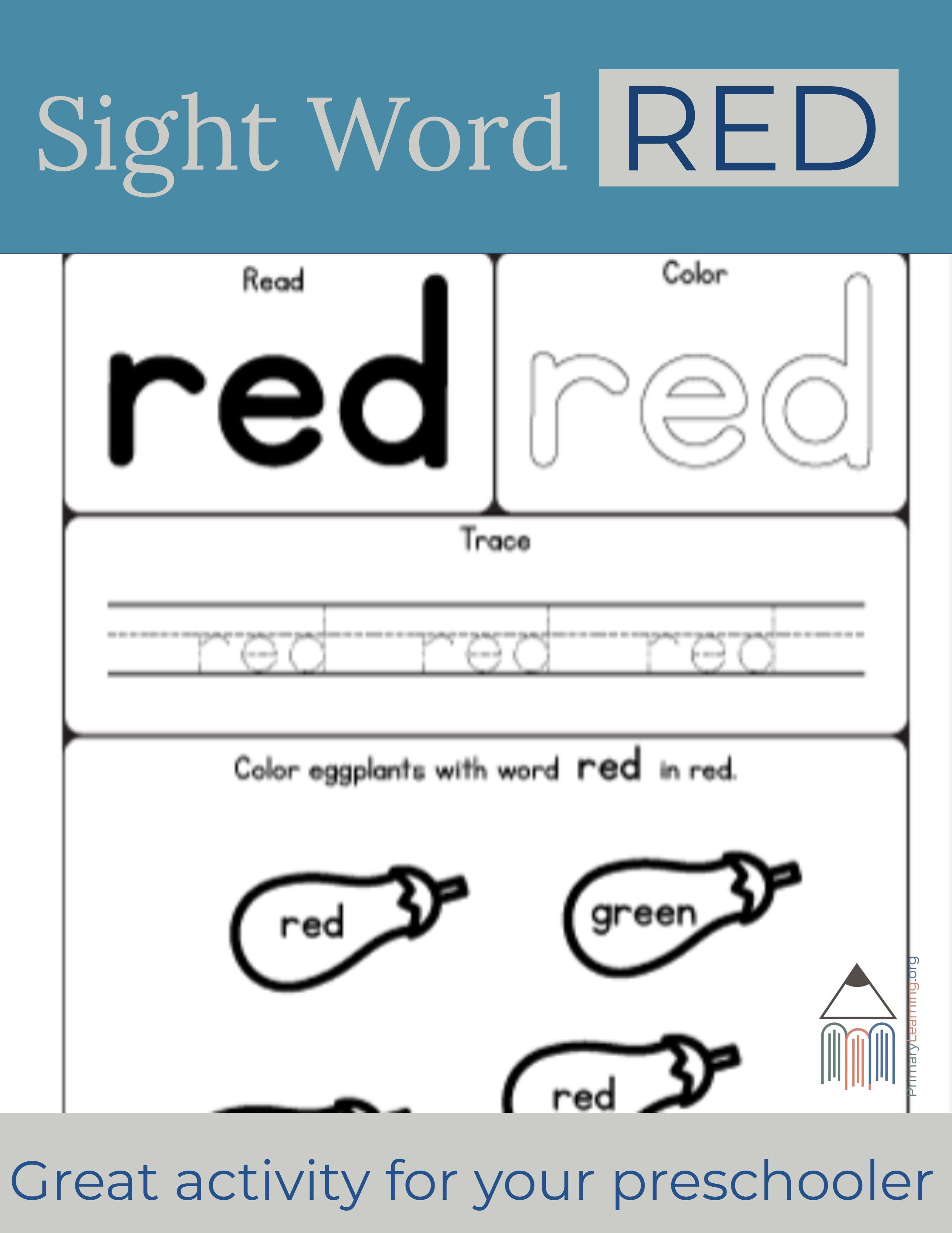 Sight Word Red Worksheet
